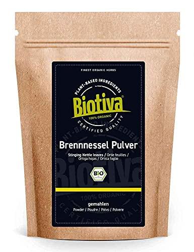 Brennnesselblätterpulver Bio 100g- Brennesselpulver - gemahlene Blätter - 100% Bio Brennnessel-Kräuter - Abgefüllt und kontrolliert in Deutschland (DE-ÖKO-005)