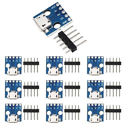 WayinTop 10 Stücke Micro USB zu DIP Adapter Board 5 Pin 2.54mm Pitch 5V Breakout Konverter Modul für DIY USB Netzteil Steckbrett