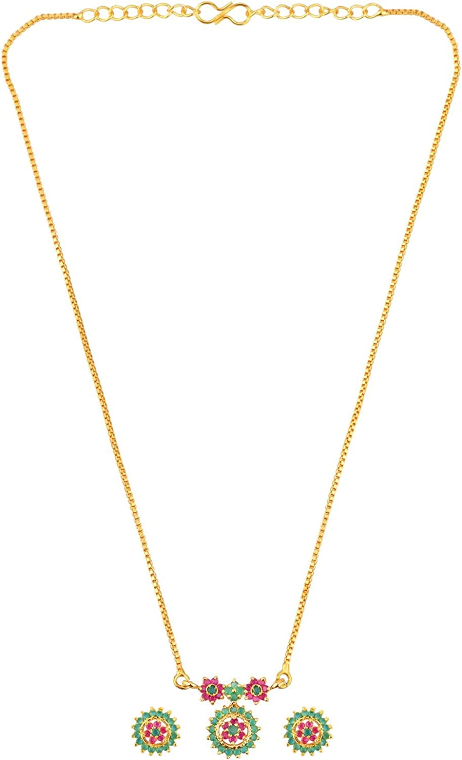 Efulgenz Indian Jewelry Cubic Zirconia CZ Round Pendant Chain Necklace Earrings Jewelry Set Gift for Women Girls