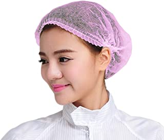 100Pcs Disposable Shower Caps Disposable Non-Woven Anti Dust Caps for Spa Home Use Hotel and Hair Salon, Pink