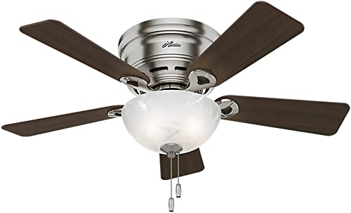 """Hunter Haskell Indoor Low Profile Ceiling Fan with LED Light and Pull Chain Control, 42"""", Brushed Nickel"""