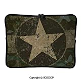 YOLIYANA Grunge Dusty Dirty Design with a Star in Circle Undercover War Laptop Sleeve Case Neoprene Carrying Bag for Any Tablet/Notebook 11.6 inch/12 inch