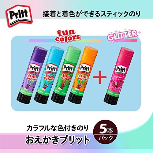 プラススティックのりおえかきプリット色付きのり4色+グリッダー入1本計5本29-754
