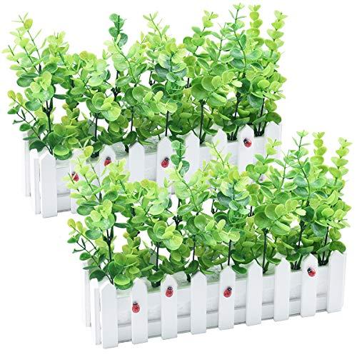 Planta Verde Artificial Eucalipto Plástico Hojas Grandes de Dinero en piquete Valla Paquete de Maceta para la Mesa de la casa Decoración de Interiores de Oficina