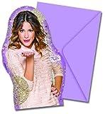 12-piezas Set de tarjetas de invitación VIOLETA - GOLD EDITION para Cumpleaños niños o Fiesta temática 6 Invitaciones y 6 Sobres cumpleaños fiesta invitaciones Disney Cantante rosa