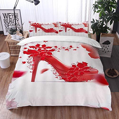 Juego de Fundas de edredón,Zapatos Rojos de tacón Alto con Flores Mariposas de Belleza Sexy,Fundas Edredón 135 x 200 cmcon 1 Funda de Almohada 40x75cm