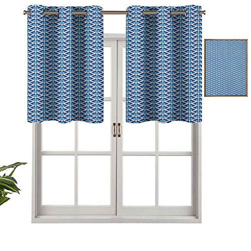 Hiiiman Indoor Home Valance Curtain Panel Ornate Impossible Penrose Triangles Pattern Blue Toned Illustration, Set of 2, 54'x24' for Bathroom and Cafe