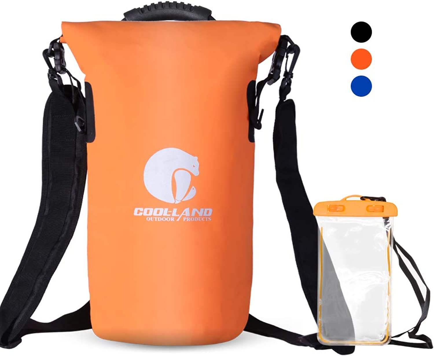 COOL LAND Waterproof Dry Bags  Roll Top Sack Hiking Backpack for Swimming, Kayaking, Boating, Rafting, Camping with Waterproof Phone Case