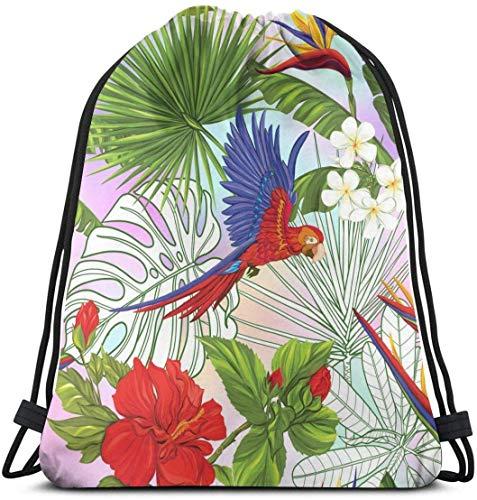 NA Papegaaien En Tropische Planten Aangepaste Klassieke Draagbare Trekkoord Rugzak 14.2