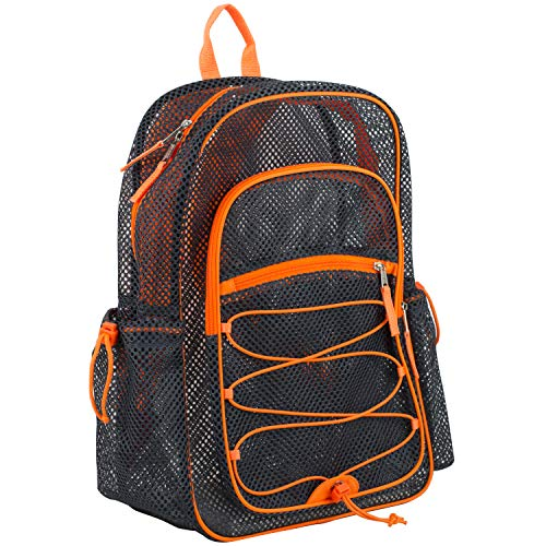 Eastsport XL Semi-Transparent Mesh Backpack with Comfort Padded Straps and Bungee, Graphite/Blaze Orange