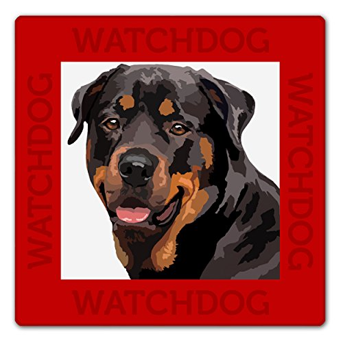 WATCH4DOGZ Rottweiler Panneau Plaque Chien de Garde 22 x 22 cm