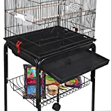 SUPER DEAL 59.3'' Bird Cage Large Wrought Iron Cage for Cockatiel Sun Conure Parakeet Finch Budgie Lovebird Canary Medium Pet House with 31'' Rolling Stand (59'')