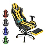 FERGHANA Video Gaming Chair,Racing Style Computer Chair,High Back Office Chair with Seat Height Adjustment,Footrest,Massage Lumbar Pillow and Headrest(Yellow)