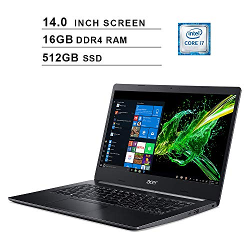 2020 Acer Aspire 5 Newest 14 Inch FHD 1080P Laptop, 8th Gen Intel 4-Core i7-8565U up to 4.6GHz, Intel UHD 620, 16GB DDR4 RAM, 512GB SSD, Webcam, HDMI, WiFi, Bluetooth, Windows 10 Home