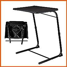 XLO - Mesa plegable para cama con 6 archivos, altura ajustable, bandeja de desayuno, sofá de ordenador, mesita de noche, hospital, hogar, mesa de lectura, escritorio, color negro