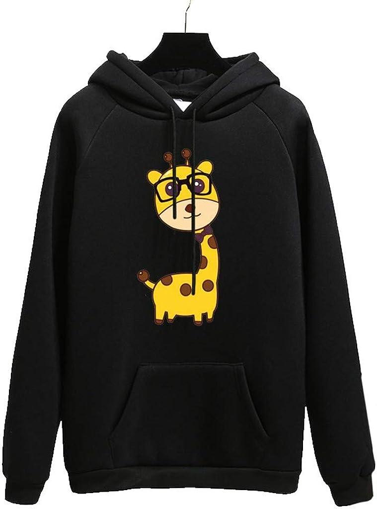 Girls' Hoodie, Misaky Autumn Winter Cartoon Glasses Giraffe Print Pocket Long Sleeve Pullover Hooded Sweatshirt