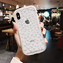 SJKPG Luxury Transparent Diamond Shaped Frame Protects Funny Design Silicone Soft Phone Case for Iphone X Xr Xs Max 6S 7 8 Plus Cover for Iphone 6 6S Beige
