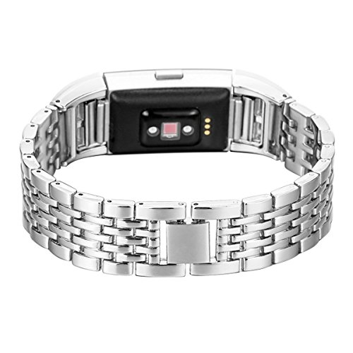 Armband Fitbit Charge 2 Silber,Armbänder Fitbit Charge2 Uhrenarmband Frauen Fashion Kristall Metall Edelstahl Ersatz Band Smartwatch Charge 2 Fitbit Armband Uhren Fitness Zubehör für Fitbit Charge 2