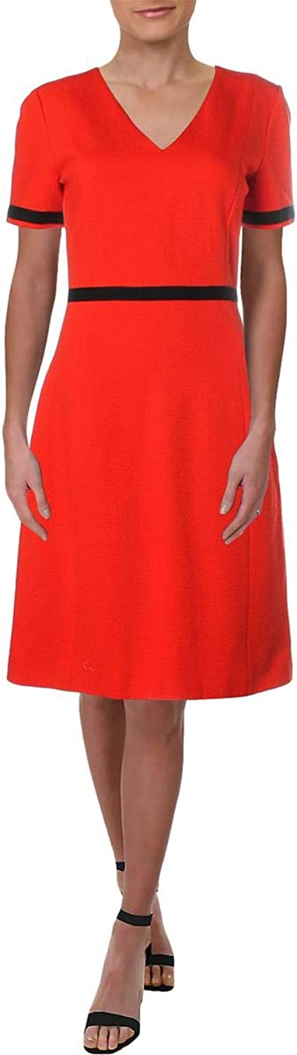 Hugo Boss BOSS Womens Higaniu colorblock VNeck Wear to Work Dress
