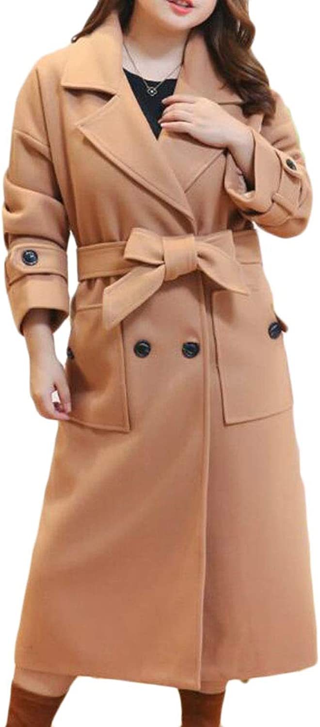 Domple Women's DoubleBreasted WoolBlend Button Lapel Plus Size Pea Coat Plus Size