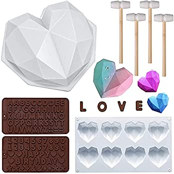 Diamond Heart Shaped Mousse Cake Mold Trays Silicone Dessert Baking Pan Safe Not Sticky Mould with 4 Pcs Wooden Hammers and 2 Chocolate Molds for Home Kitchen DIY Baking Tools