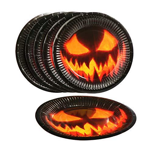 com-four® 32 pezzi Set per Halloween con ragnatela, ragni, tazze, piatti, tovaglioli e tovaglie per feste di Halloween, Carnevale e a tema (032 pezzi - Set di Halloween)