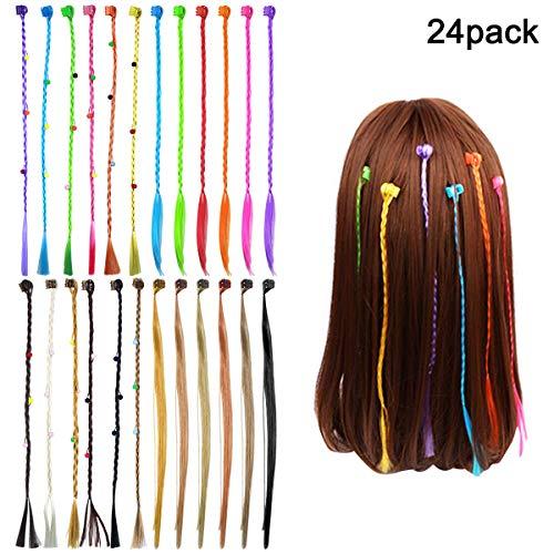 Fodlon Nylon Capelli Braid, 24 Pezzi Parrucche e Parrucchini per Bambini Neon Hair Braids Estensioni Allegati con Neon Clip Scatta per Compleanno Festa Favori e Bambini Prestazione