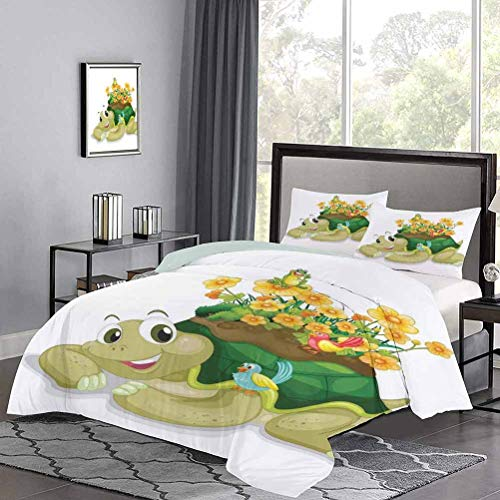 GugeABC Reptile Quilt Set Full Size, Funny Floral Turtle Talking with Colorful Humming Birds Tortoise Ninja Home Decoration Bedding Sets, Multi