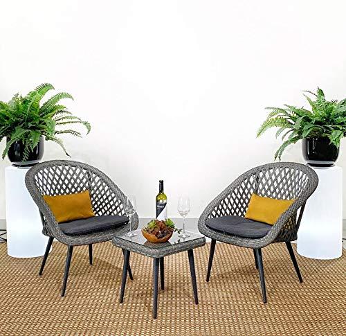 na Creata Balcony Juego de terraza 2 sillas y Mesa de té para Exterior- Ratán sintético y Estructura de Aluminio, Color Gris