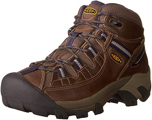 KEEN Women's Targhee 2 Mid Height Waterproof Hiking Boot,Goat/Crown Blue, 8 M (Medium) US