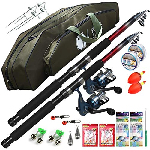 YUSHRO Fishing Rod and Reel, Carbon Ultralight Super Hard Telescopic Pole Full Set Accessories For Offshore Surf Boat Stream