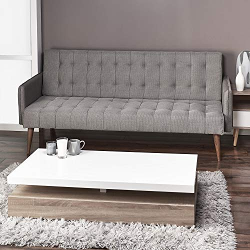 Scandi Scandinavian Chic Modern Light Grey Silver Comfortable Space Saving 3 Seater Sofa Furniture Folding Click Clack Sofa Bed Fabric Settee Couch Mid Century Wooden Legs