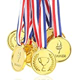 Pllieay 12 Pieces Children's Gold Winners Plastic Medals Kids Party Game Toys Prizes Awards
