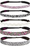 Hipsy Women's Adjustable NO Slip Wide Country Flower Headbands (Wide D. Pink & Glitter Multi 5pk)