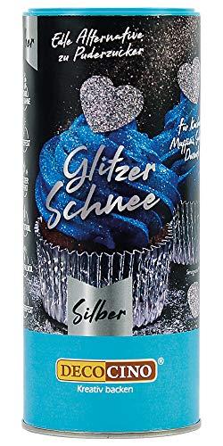 Dekoback Glitzer-Schnee silber (100 g) - Glitzerstaub, Glitzerpuder, Backglitzer, essbarer Glitzer zum Backen, Glitter, Glimmer