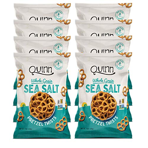 Quinn Snacks Non-Gmo and Gluten Free Pretzels, Classic Sea Salt Twists, 7 Oz, Pack Of 8