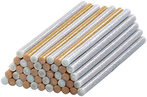 AGT Heissklebe-Stick: 50 Klebesticks für Heißklebepistolen, 11 x 200 mm, golden & silbern (Heiß-Klebestift)