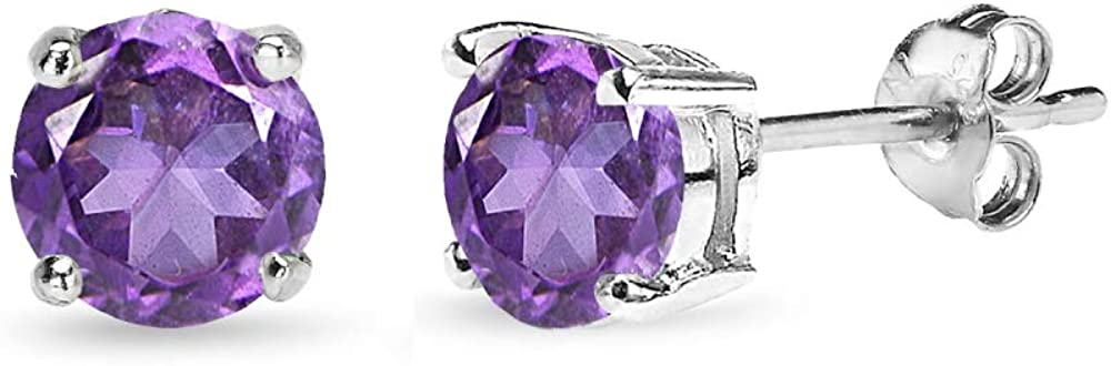 Sterling Silver African Amethyst Solitaire Earrin New product type Round-Cut Large discharge sale Stud