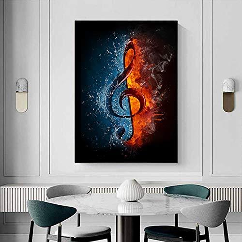LYHNB Resumen de Agua y Fuego Nota Musical Pintura en Lienzo Carteles e Impresiones Cuadros de Pared...
