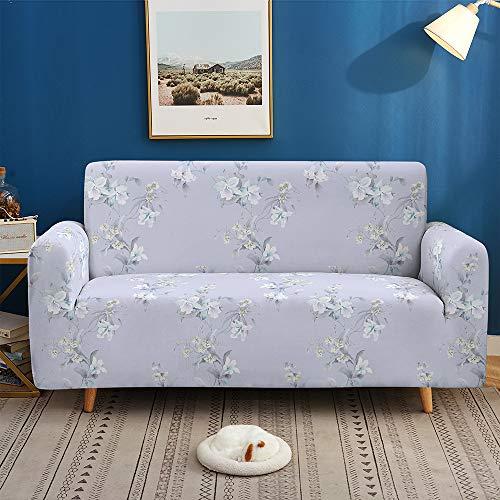 Morbuy Copridivano Fodera Copridivani di 3D Fiore Foglia Stampa, Elasticizzato Sofa Protettore Copertura per 1/2/3/4 posti Divano Poltrone + Rullo Appiccicoso Regalo (Lavanda,3 posti)
