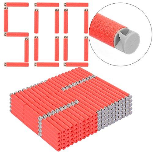 Foxom 500 Stück Pfeile Darts Nachfüllpack Zubehör für Nerf N-Strike Elite AccuStrike Raptorstrike Blaster (Rot)
