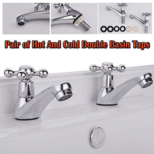ZHTY 2X Badezimmer Chrom Doppelwaschbecken Wasserhähne Warm- und Kaltwasser Twin Sink Wasserhahn Traditionelle Kreuzkopfhebel Design