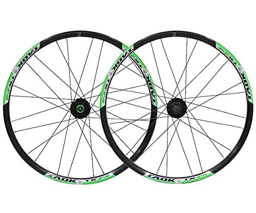 LSRRYD Mountainbike Scheibenbremsen Laufradsatz Fahrrad Schnellspanner Laufrads 24 Zoll MTB Felge 1836g 24 Loch Nabe Für 7/8/9/10 Geschwindigkeit Kassette (Color : Green, Size : 24inch)
