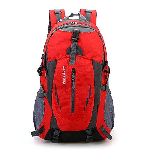 Minetom Sacs De Trekking 55L Grande Capacité Voyage Multifonctionnel Imperméable Sac À Dos Adulte Extérieur Randonnée Camping Rouge One Size(32 * 25 * 50 cm)