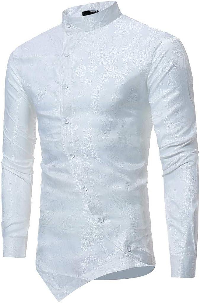 MODOQO Men's Long Sleeve Button Shirt Irregular Hem Print Cotton O-Neck T-Shirt Top