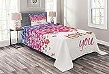 ABAKUHAUS Liebe Tagesdecke Set, Herz-Liebe-Frühling, Set mit Kissenbezug Moderne Designs, für Einselbetten 170 x 220 cm, Mehrfarbig
