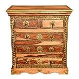 Casa Moro Orientalische Kommode Malek aus Massivholz Sheesham 75x45x80 (BxTxH) mit 5 Schubladen & feinen Messing verziert | Kunsthandwerk Pur | schmale Echtholz Nachttisch | MA70-140