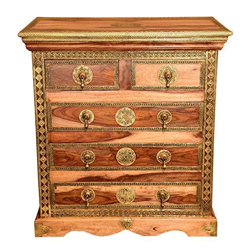 Casa Moro | cassettiera orientale Malek in legno massello di sheesham 75x45x80 (LxPxH) con 5 cassetti e ottone pregiato decorato | puro artigianato | comodino stretto in vero legno | MA70-140