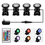 Pond Light,Docean 36 LED IP68 Waterproof Underwater Submersible Spotlight with Remote, 4 Pack Multi-Color & Adjustable & Dimmable Aquarium Light, Landscape Lamp for Fish Tank Fountain (Upgraded)