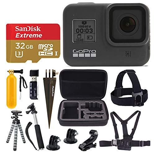 GoPro HERO8 Black Waterproof Action Camera with Touch Screen 4K HD Video 12MP Photos + Sandisk Extreme 32 GB Micro SD Memory Card + Hard Case + Gopro Hero 8 - Deluxe Accessory Bundle